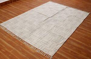 Throw Area Rugs Hand Block Printed Cotton Rug 5x8 ft Handmade Bohemian Dhurrie