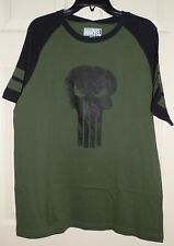 New Mens size Large The Punisher T-Shirt Marvel Skull Green 100% cotton