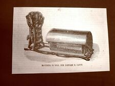 Incisione del 1865 La storia del caffè Macchina di Will per tostare i chicchi