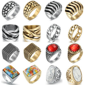 Women Men Stainless Steel Silver/Gold Rings Wedding Band Jewelry Gift Size L-V