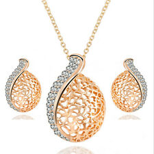 New Fashion Women Gold Plated Jewelry Set Crystal Hollow Earrings Chain Necklace