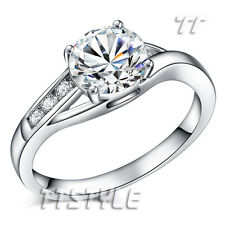TTstyle 18K White Gold Plated Fashion Wedding Ring Choose Size