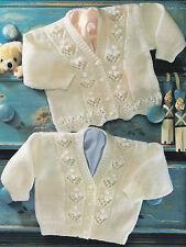 """Eyelet & Bobble Flower Baby Cardigans 2 Borders 16"""" - 24""""  DK Knitting Pattern"""