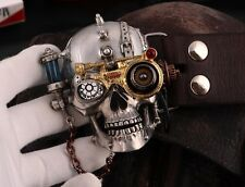Men Punk Rock Handmade Tin Alloy Skull Belt Buckles Cowhide Genuine Leather H100