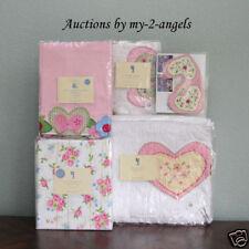 Pottery Barn Kids Ashley Hearts Rose Twin Quilt+Sham+Sheets+Valance+Wallies NLA