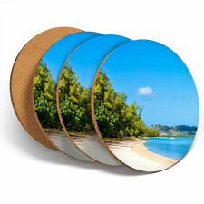 4 Set - Ile Aux Benitiers Beach Coasters - Kitchen Drinks Coaster Gift #12568