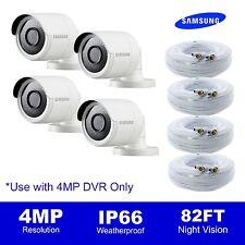 Set of 4, Samsung SDC-89440BFN 4MP Camera (4MP Unit Only) SDH-C85100BFN, cables