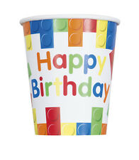 BUILDING BLOCKS 9oz PAPER CUPS (8) ~ Birthday Party Supplies Beverage Drinking