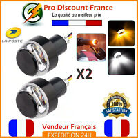2x Embout Guidon Clignotant Veilleuse LED Orange Blanc Moto Scooter Clignotants