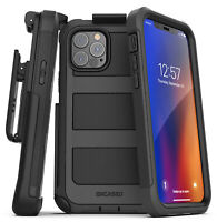 iPhone 12 Pro Case w Built-in Screen Protector and Belt Clip Holster - Black