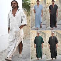 NEW Men Ethnic Robes Long Sleeve Islamic Muslim Middle East Maxi Dress Kaftan
