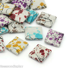 """30PCs Acrylic Spacer Beads Rectangle Flower Painting Mixed 26.5mm x 24mm(1""""x1"""")"""