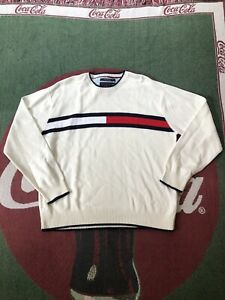 Mens Vintage Tommy Hilfiger Flag Logo Sweater White Medium