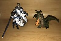 Papo The Medieval Era Blue Dragon Knight KING & HORSE Jousting Figurines 2006