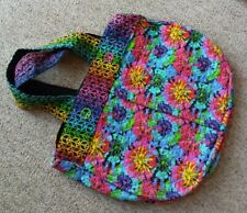 VTG Oversized Peace Sign Boho Bag Hippie 60s Quilted Purse Huge Retro Tie Dye