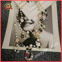 Long Simulated Pearl Necklace No.5 Double Layer Camelia Maxi Flower Party Collar