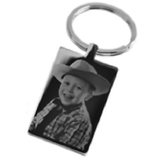 Photo Engraved KEYRING your picture on stainless steel keychain GIFT rectangle