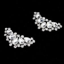 2PCS hoe Clips Rhinestones Metal Faux Pearl Bridal Prom Shoes Buckle Deco JR
