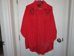 Men's HIGH NOON RED Rockabilly Western shirt with Embroidered Black Horse XL