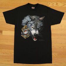 VINTAGE ORIGINAL HARLEY DAVIDSON TEE SHIRT 3D EMBLEM WOLF 1992 S/M DEADSTOCK