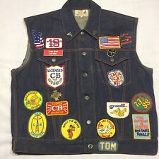 Vintage CB Radio Patches Vest Trucker Antenna Operator Band Club Blue jean denim