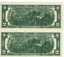 TWO (2) CONSEC 1976 BiCentennial $2 GEM CU U.S. FRN~BRAND NEW, YET 44 YEARS OLD!