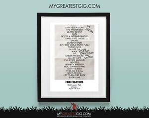 Foo Fighters - Glasgow - Aug 17th 2019 - Recreated Set List Poster Print Art