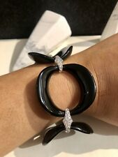 Secrets Shhh Black Ceramic & Simulated Brilliant Cut Diamond Bracelet. Brand New