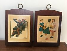 """Norman Rockwell Vintage Wooden Plaques ~ """"Missing Tooth"""" and """"Downhill Daring"""""""