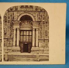 1860 Italian Stereoview Photo Porch Door Chartreuse Church Certosa Pavia Italy