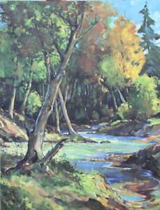 Vintage Creek through woods 3 by Wm Brigl 1950s print