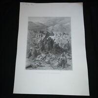 Gravure XIX siècle: Funérailles des croisés après la bataille de Dorylée