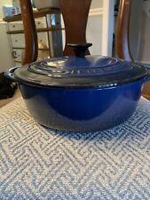 """Le Creuset #22 Lapis Blue Enamel Cast Iron 2 3/4 Qt 9"""" FRENCH DUTCH OVEN Unused"""