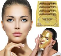 10 x 24K Gold Bio Collagen Luxury Face Mask Wrinkle Tired Puffy Eyes Treatment