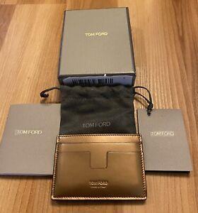 NWT TOM FORD Men's Metallic Bronze Leather Card Holder Case Wallet