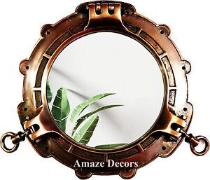 "Copper Antique Finish Marine Brass Ship Porthole Wall Mirror Nautical Decor 15"""