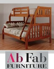 DOUBLE SINGLE TROY TIMBER TRIO BUNK BED