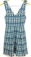 MAUVE Anthropologie Dress Sundress Swing Womens Skater Sleeveless V Neck Keyhole
