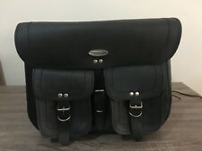 MOTORBIKE SADDLE BAGS 100% LEATHER, BLACK WITH POCKETS, BRAND NEW, PL2673
