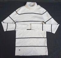 NEW Lauren Ralph Lauren Women's White/Black Long Slv Turtle Neck Sweater Large