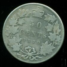 1870 Canada, Queen Victoria V, Sterling Silver Fifty Cent Piece   F250