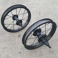 "REVENGE 12"" OEM CASSETTE 9T WHEEL SET RHD BLACK RIMS BMX BIKE WHEELS"