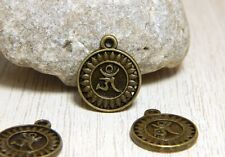 5 Bronze Om Charms 13mm Detailed Yoga Buddha Zen Pendants BC-25