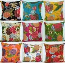 Cushion Cover Cotton Kantha Quilted Vintage Floral Tropicana Decor Pillow Case