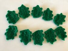 10 crochet HOLLY leaves applique/ embellishment/Christmas craft
