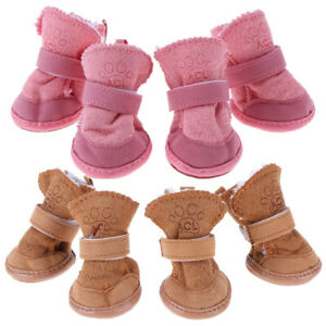 4pcs Pet Winter Shoes Boot Anti-slip Shoes Footwear for Small Dog Puppies