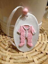 Handmade Hanging Baby Girl Clay gift Tag/gift -Birth/christening/baby Shower New