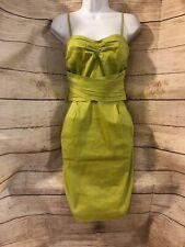 DKNY Women's Lime Green Sheath Dress Optional Spaghetti Straps/Strapless Size 4