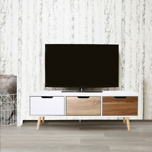 Wooden TV Stand with 3 Drawers Entertainment Unit Storage Cabinet Living Room UK
