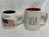 NEW (2) Rae Dunn USA & FREEDOM Flag Mug Set Red/Blue Interior *EXPERT SHIPPER*